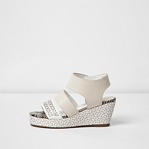 Girls white laser cut wedges