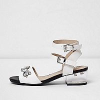 Girls white clear block heel sandals