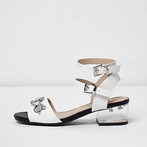 Girls white clear block heel sandals