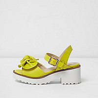 Girls lime green bow front sandals