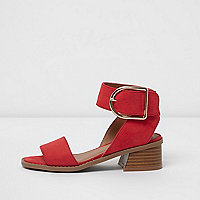 Girls red block heel sandals