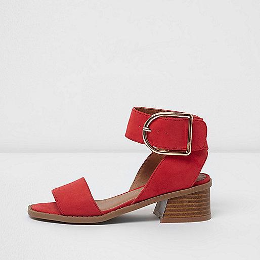 Girls red block heel sandals