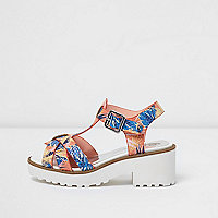 Girls orange tropical T-bar chunky sandals