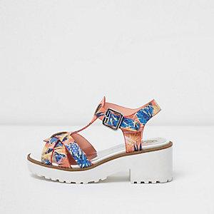 Sandales motif tropical orange style salomé à semelle épaisse pour fille