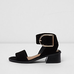 Girls black block heel sandals