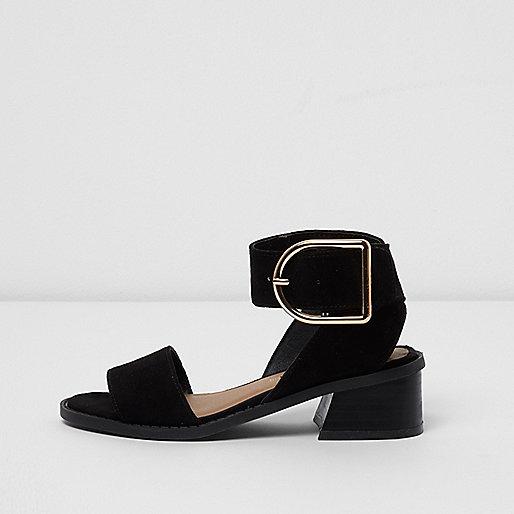 Girls black block heel sandals