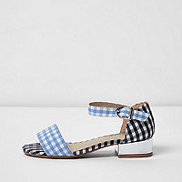 Girls blue gingham print sandals