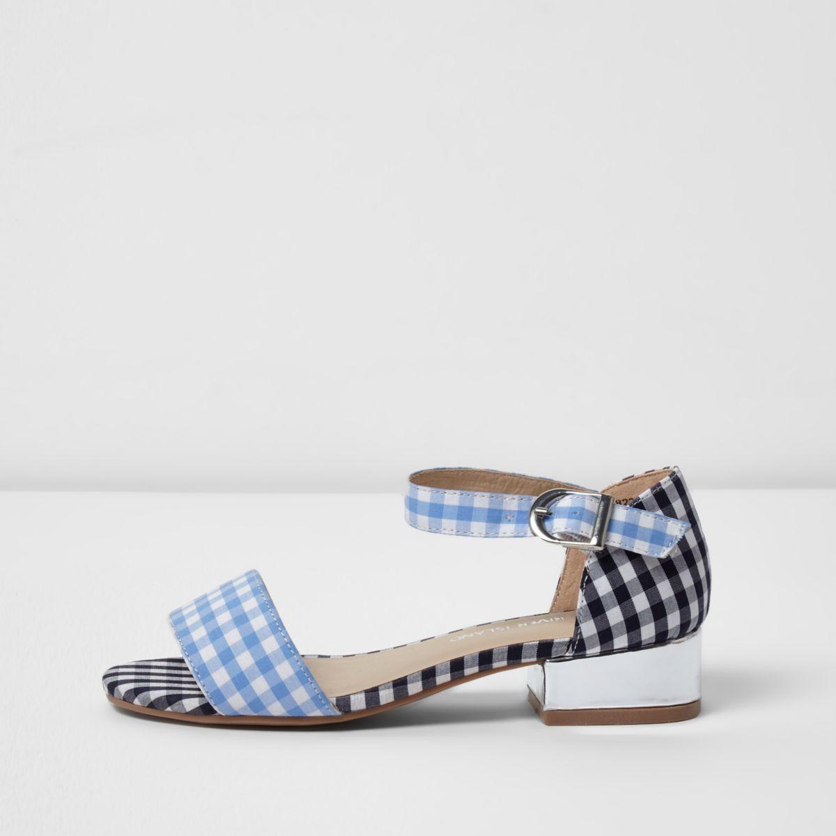 Girls blue gingham print sandals