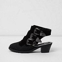 Girls black sling back sandals