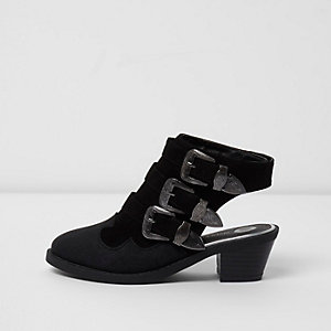 Girls black sling back sandals