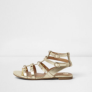 Girls gold metallic studded gladiator sandals