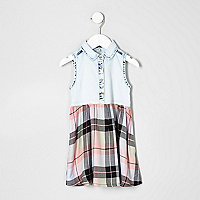 Mini girls blue denim check hybrid dress