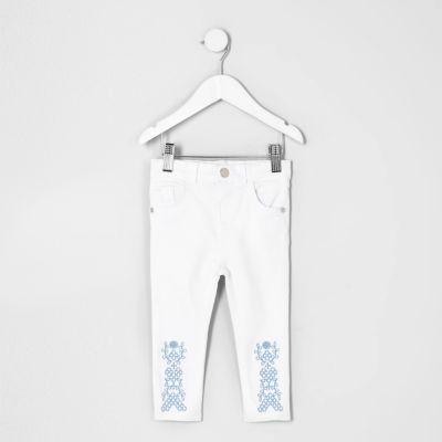 Mini Amelie witte jeans met geborduurde zoom voor meisjes