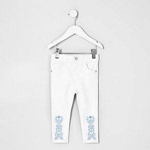 Amelie – Jean blanc brodé à l'ourlet mini fille