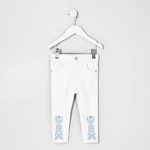 Mini - Amelie witte jeans met geborduurde zoom voor meisjes
