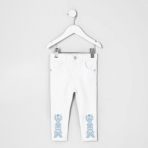 Mini girls white embroidered hem Amelie jeans
