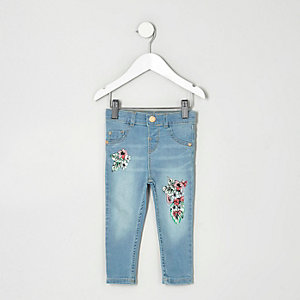 Mini girls blue tropical Molly skinny jeans