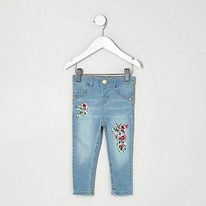 Mini - Blauwe Molly skinny jeans met tropische print voor meisjes