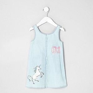 Mini - Lichtblauwe denim jurk met eenhoorn voor meisjes