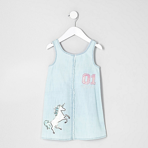 Mini girls light blue denim unicorn dress