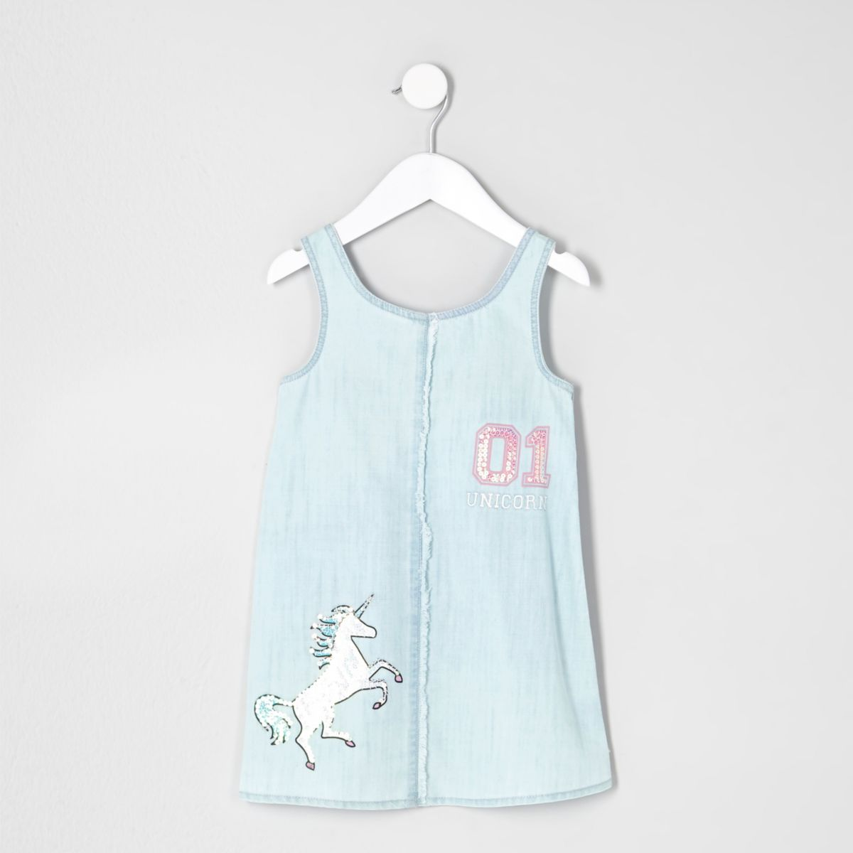 Mini girls light blue denim unicorn dress