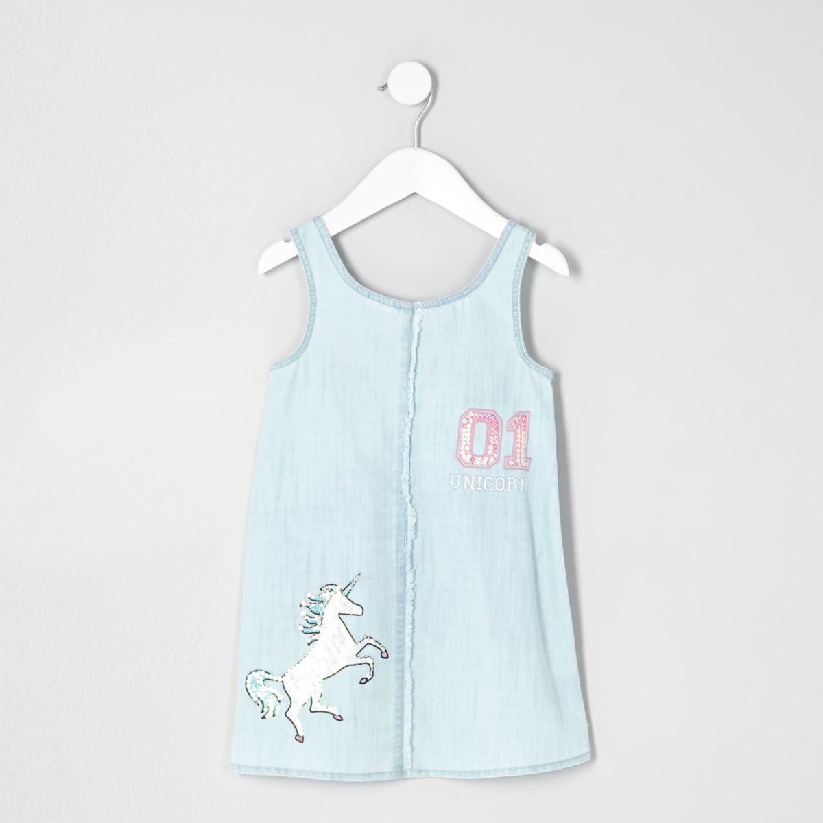 Robe en jean bleu clair motif licorne mini fille
