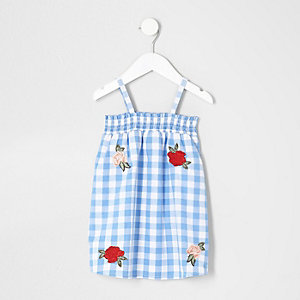 Mini girls blue floral gingham trapeze dress