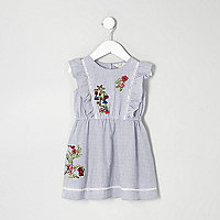 Mini girls blue stripe embroidered dress