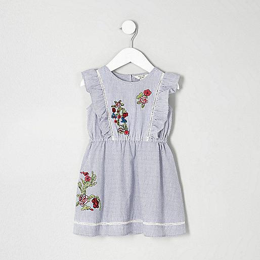 Mini girls blue stripe embroidered dress