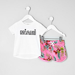 Mini girls white 'Miami' T-shirt outfit