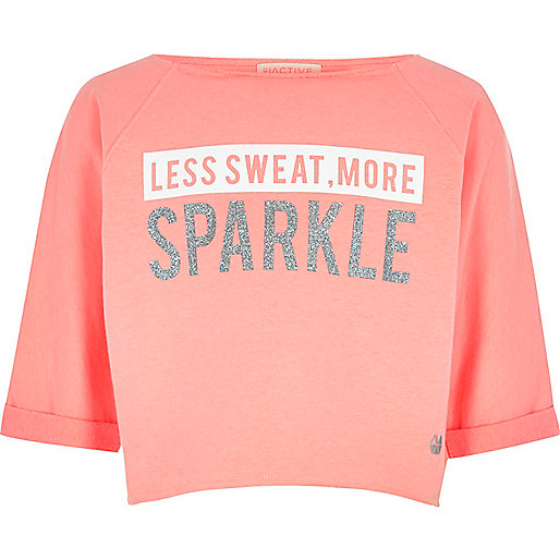 Girls coral 'sparkle' mesh back sweatshirt