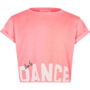 Girls pink 'Dance' print cropped T-shirt