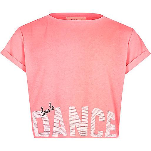 Girls pink 'Dance' print cropped T-shirt