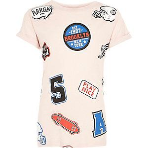 Girls pink badge print T-shirt