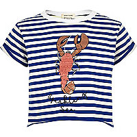 Girls blue stripe lobster cropped T-shirt