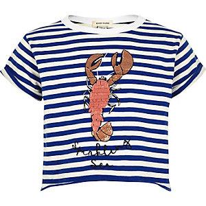 T-shirt court rayé avec imprimé homard bleu pour fille