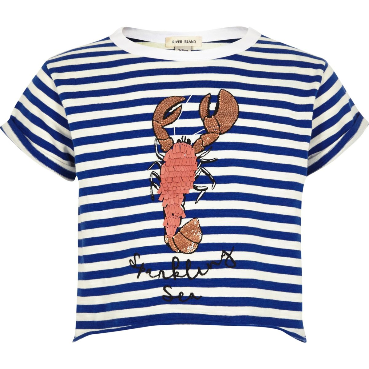 Girls blue stripe lobster cropped T-shirt