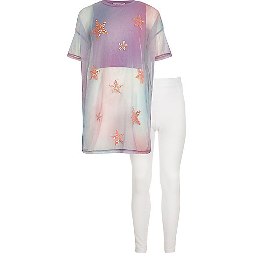 Girls pink mesh T-shirt and leggings outfit