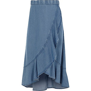 Girls blue frill hem wrap maxi skirt