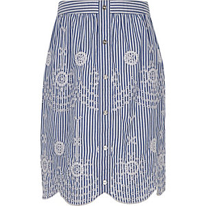 Girls blue stripe embroidered midi skirt