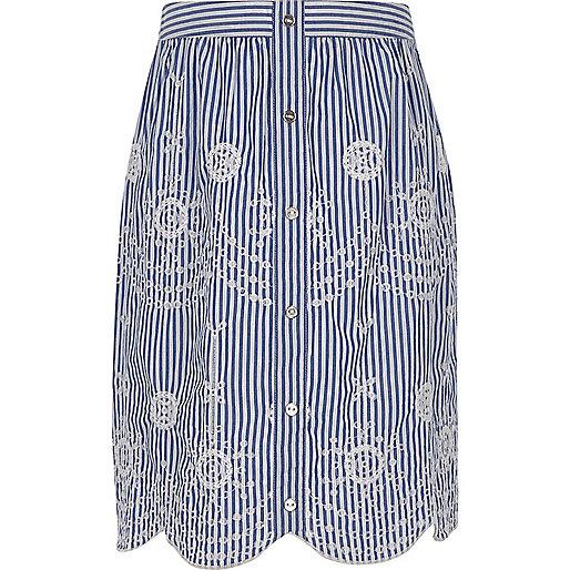 Girls blue stripe embroidered midi skirt
