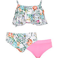 Girls white floral shelf bikini set