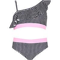 Girls black gingham one shoulder bikini set