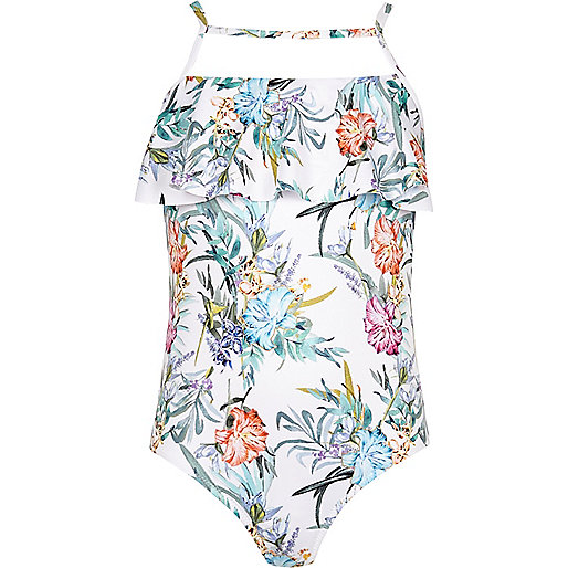Girls white floral print shelf frill swimsuit