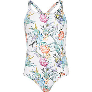 Girls white floral print swimsuit