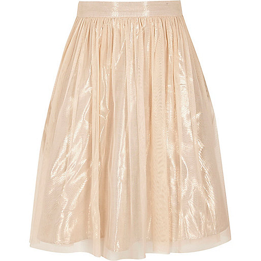 Girls cream metallic mesh midi skirt