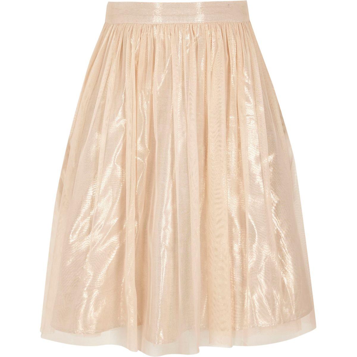Girls cream metallic mesh midi skirt