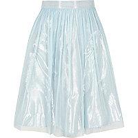 Girls light blue metallic mesh midi skirt