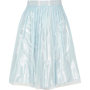 Girls light blue metallic mesh midi skirt