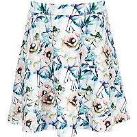 Girls white floral frill skirt